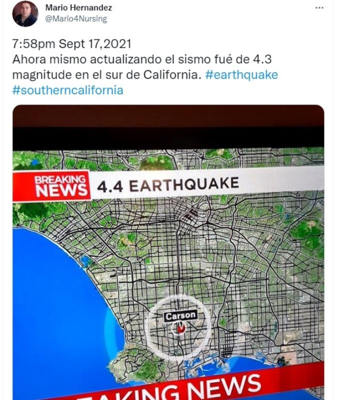 Sismo California epicentro: Profundidad de 9.2 millas