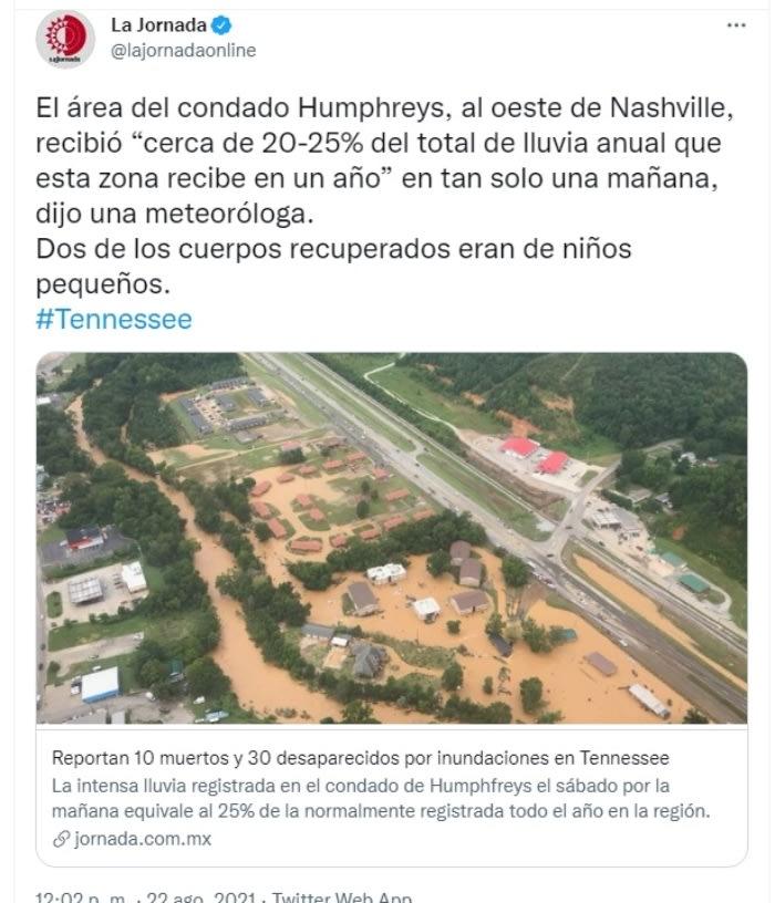 Muertos inundaciones Tennessee: El condado de Humphreys uno de los más afectados