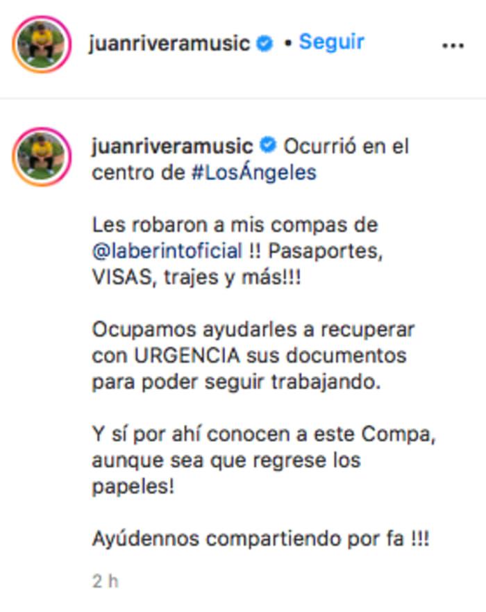 Pide ayuda tras robo a Grupo Laberinto Lupillo y Juan Rivera