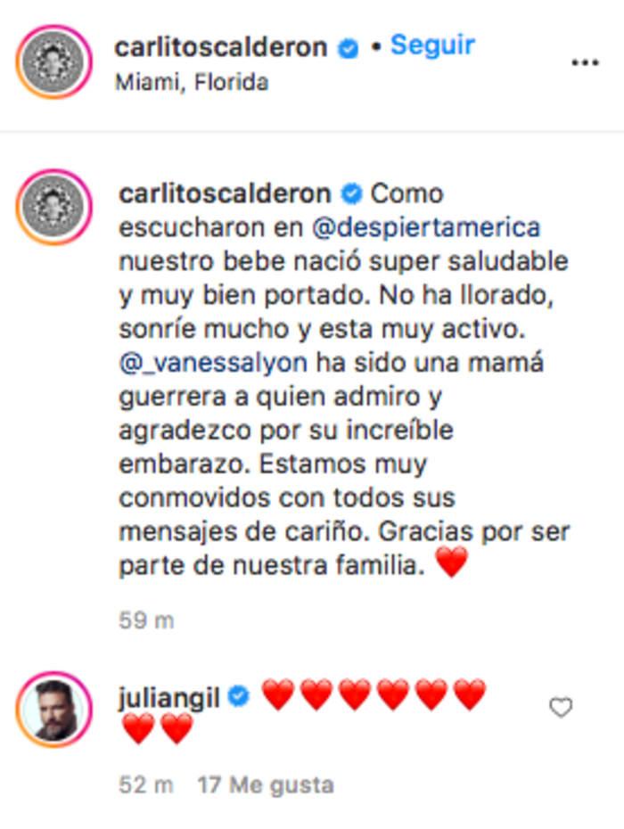 Carlitos Calderón ya tiene bebé