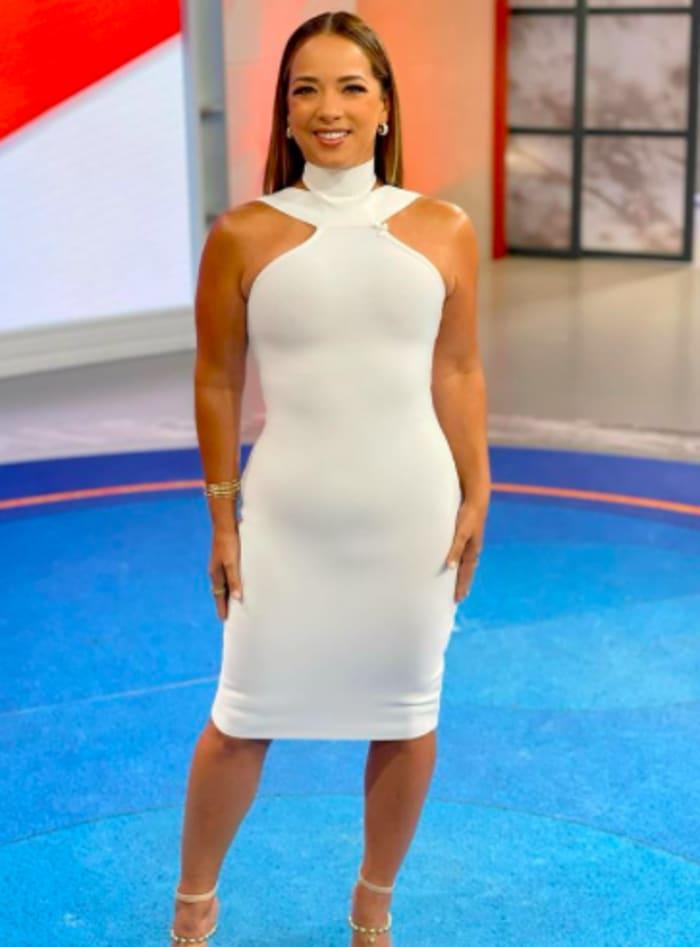 Adamari López in Hoy Día with a white dress
