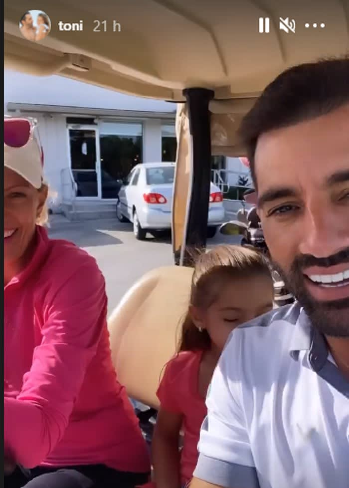 He has the best time with a blonde playing golf