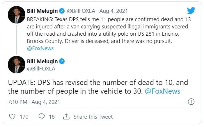 Accidente en Texas deja 10 inmigrantes muertos y al menos 13 lesionados