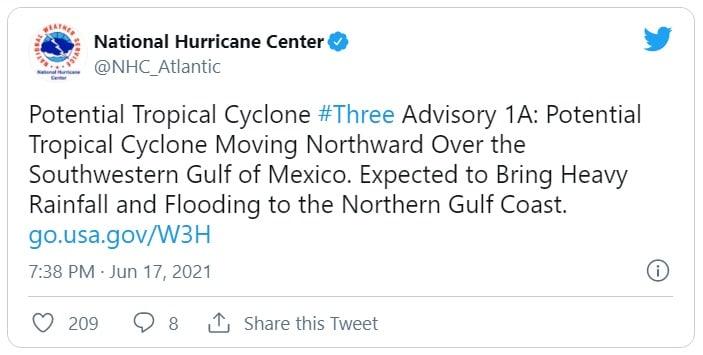ACTUALIZACIÓN: Emiten alerta. Potencial depresión tropical se extiende de México a costa sur de EEUU
