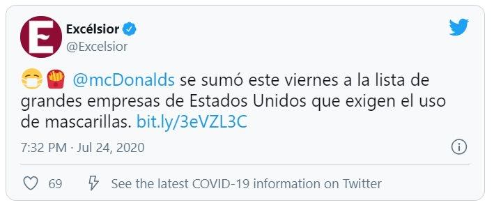 McDonald's exige usar mascarillas nuevamente a clientes y empleados
