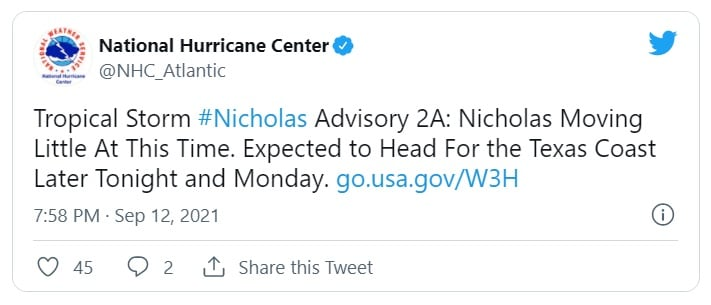 Tropical Storm Nicholas: Hurricane Watch Issued for Texas