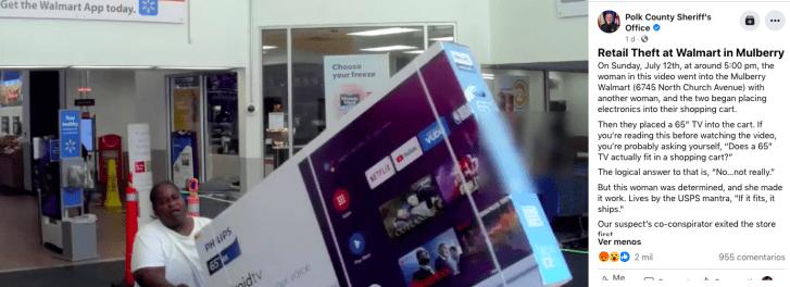 Robo en Walmart: policía busca mujer que intentó robar un televisor gigante