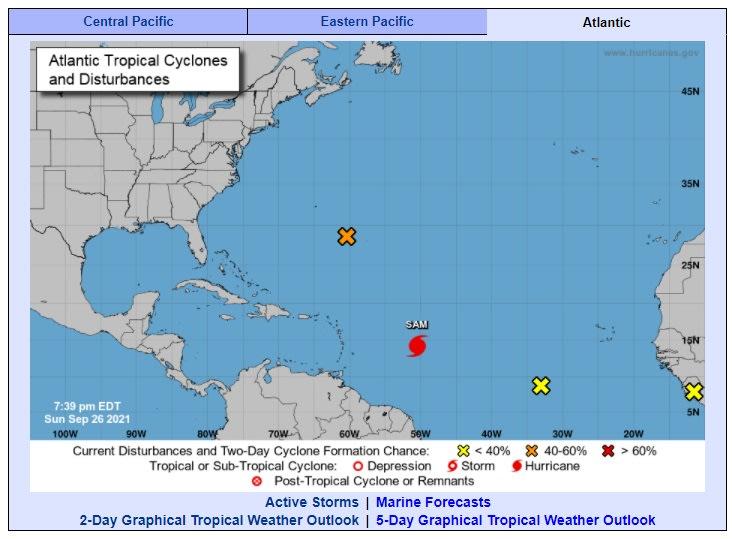 Monstruoso huracán Sam continúa fortaleciéndose en el Atlántico