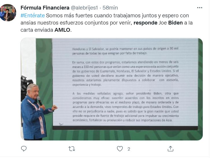Letter content Biden AMLO: He is interested in the future of Mexico