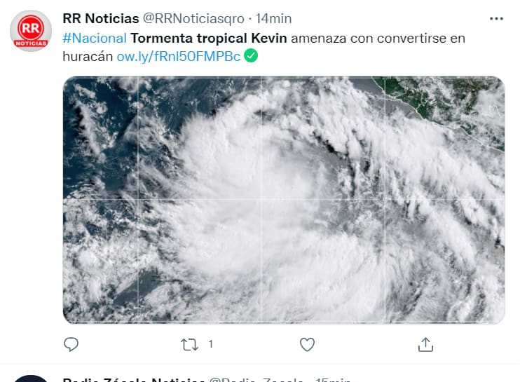 Tropical storm Kevin México: Affects Colima and Jalisco