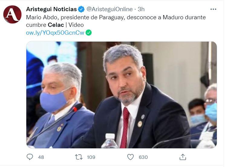 Maduro reta a los presidentes de Uruguay y Paraguay