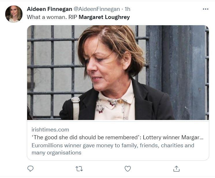 Margaret Loughrey muerte: Ganó la lotería