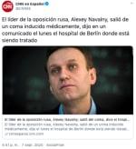 Opositor Navalny sale del coma inducido según hospital alemán