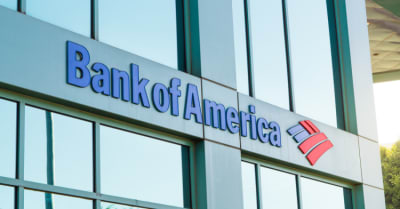 The logo of Bank of America in modern office
