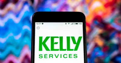 Kelly Services Management consulting company logo seen displayed on smart phone
