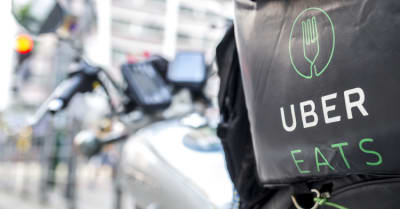 An Uber Eats motorbike parked on the side of the road
