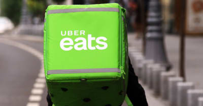 An Uber Eats courier delivers food in Bucharest, Romania.
