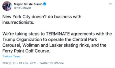 Nueva York bloquea Trump y revoca contratos por ataque a Capitolio