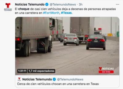 choque masivo tormenta invernal Texas