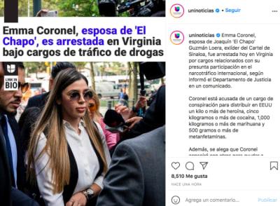 Emma Coronel, wife of El Chapo arrested (Instagram)