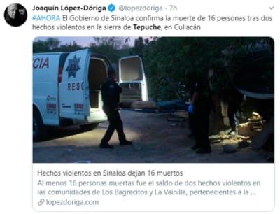 Mueren 16 Sinaloa