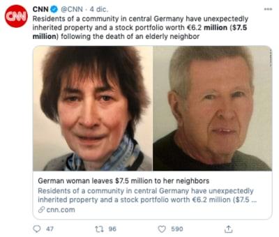 Mujer deja herencia millonaria a sus vecinos tras su muerte