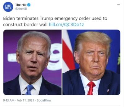 Biden cancela la orden de emergencia de Trump utilizada para construir el muro fronterizo