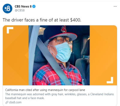 Man confesses he used a mannequin to carpool in California