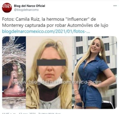 Influencer Camila Ruiz detenida robo de auto 1
