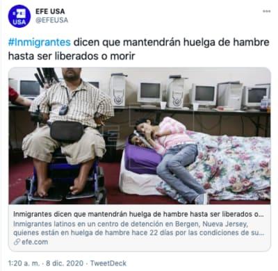Inmigrantes en huelga de hambre en centro de detención de Nueva Jersey