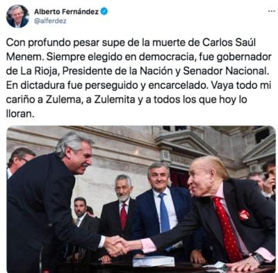 muere Carlos Menem