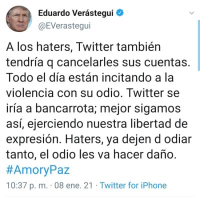 Eduardo Verástegui cambia su foto de perfil de Twitter por una de Trump