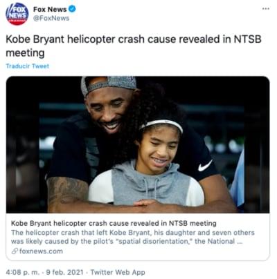 causa accidente Kobe Bryant