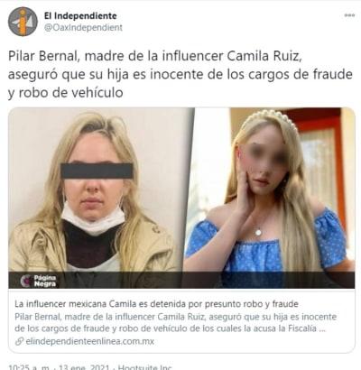 Influencer Camila Ruiz detenida robo de auto 2