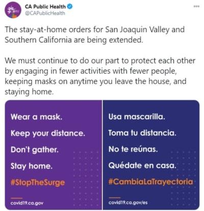 Sur California extiende orden, Los Ángeles, permanecer en casa