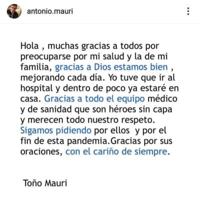 Toño Mauri da detalles de su estado de salud tras ser hospitalizado por Covid-19