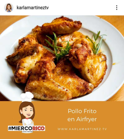 Karla Martínez prepares a fried chicken in Airfriyer and they claim her
