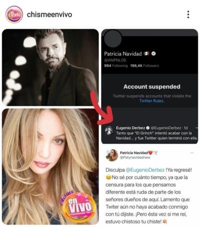 Paty Navidad le responde a Eugenio Derbez desde su nueva cuenta de Twitter