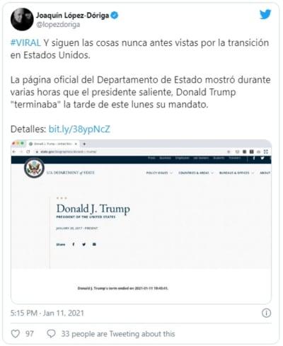 ¿Trump termina su mandato hoy? Anuncio en la web oficial causa confusión
