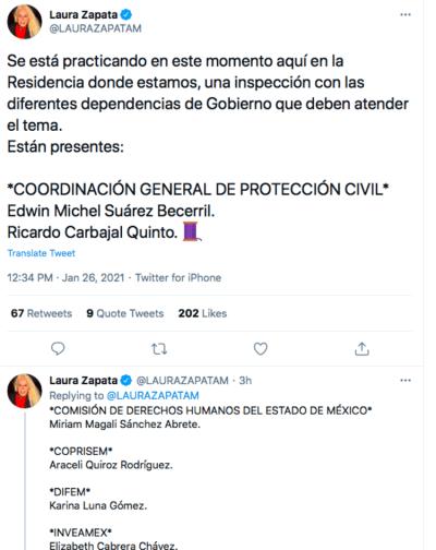 Grand-mère de Thalía, Laura Zapata Eva Mange (Twitter)