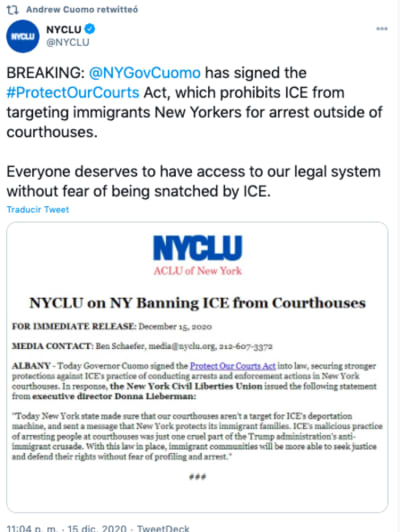 Arresto de indocumentados en juzgados de Nueva York es limitado por gobernador