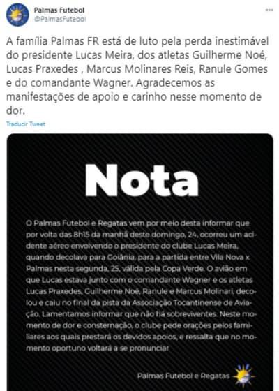 Accidente Palmas FC Brasil, equipo brasileño