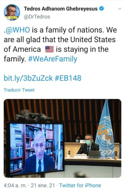 Anthony Fauci expresa apoyo de EEUU a la OMS tras críticas de Trump