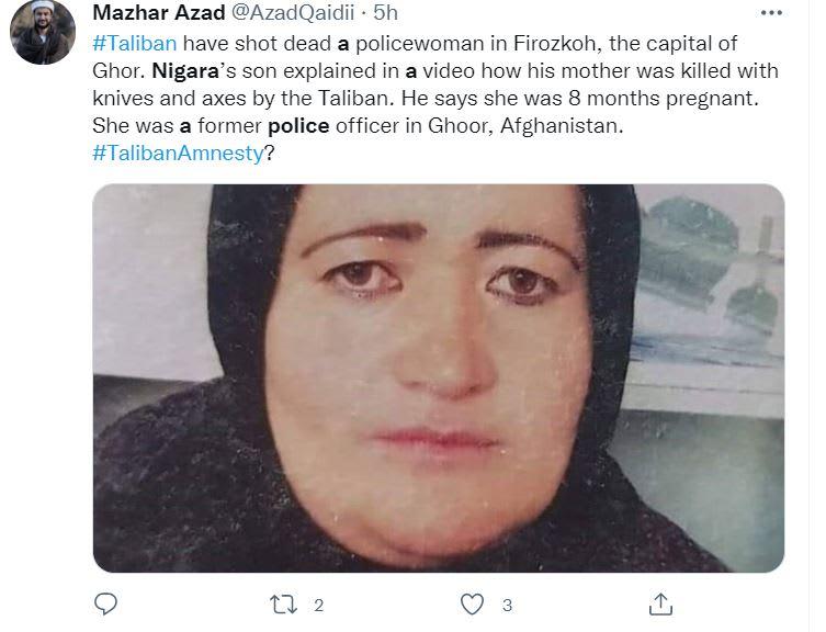 Talibanes asesinan mujer embarazada: El ataque a una mujer embarazada