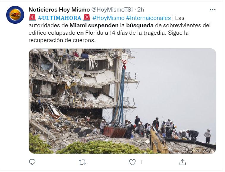 Suspenden búsqueda edificio Miami: Prepararon a las familias