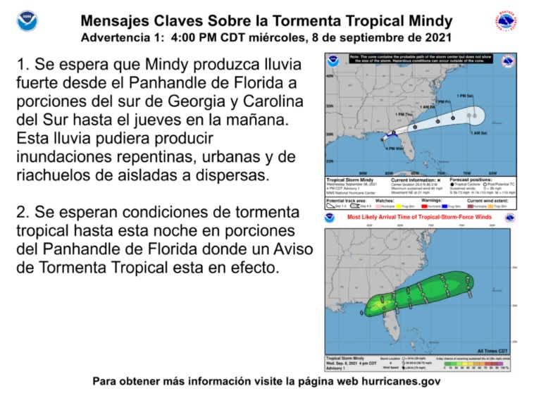 Tropical storm Mindy forms in the Gulf of Mexico and threatens Florida