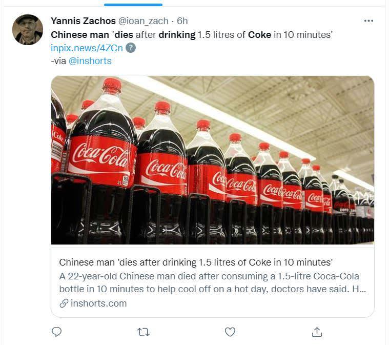 Hombre fallece por refresco: Bebió el refresco en diez minutos