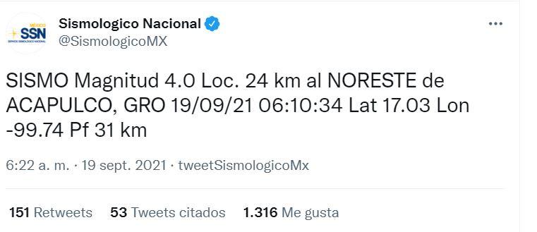 Registran sismo México septiembre: SE REGISTRA SISMO