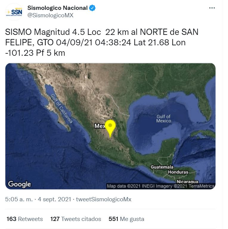 Sismo Guanajuato SLP México: El primer reporte