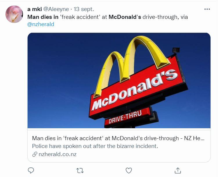 Hombre muere comprar McDonalds: Las imágenes del accidente